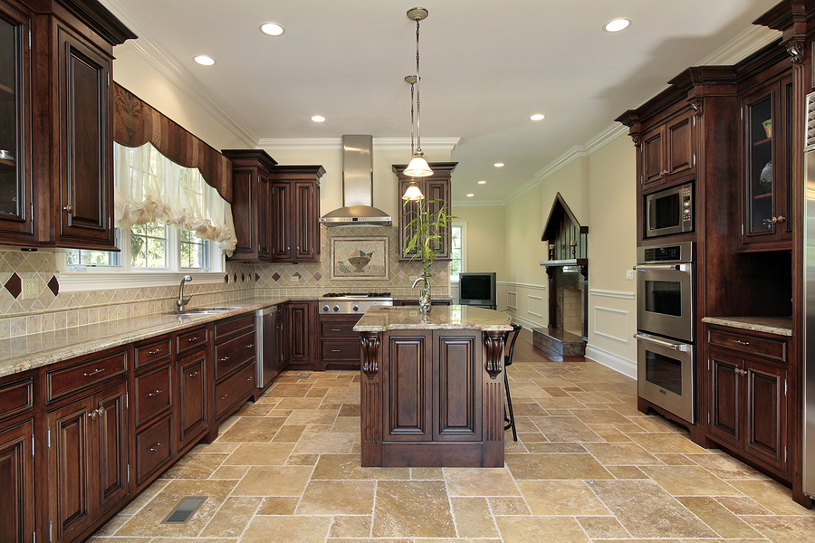 a kitchen with clean tiles